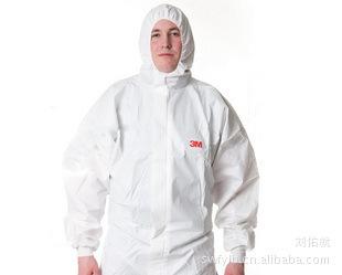 3M4535白色带帽连体透气防护服化学防护服喷漆服3M4535防护服