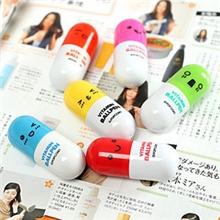 厂家直销韩国文具小清新可爱表情药丸伸缩笔圆珠笔