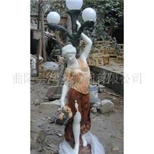 供应园林装饰品石雕工艺品大理石人物灯柱工艺品