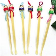 手工可爱娃娃头竹子挖耳勺竹制挖耳勺洁耳器耳挖(100个装)