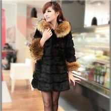 2013冬装新款韩版气质女装貉子毛兔毛中长款加厚外套皮草