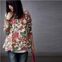 2013新秋女装日单森女系例外田园民族风印花圆领假两件套头衬衫