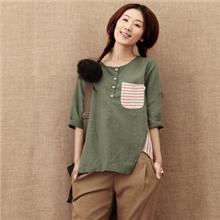 2013年春日单森女系学院风例外拼接条纹中袖T恤衬衫米兰宣言