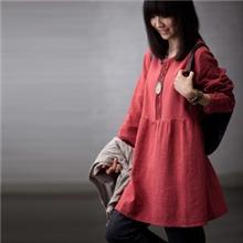 2013年秋冬甜美日单森女系圆领后领开扣女衬衫宽松娃娃装连衣裙