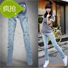 650韩版春夏蓝色高弹力薄款女式小脚牛仔裤批发