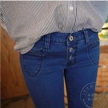 556实拍同步新款高腰牛仔裤女小脚裤显瘦排扣紧身铅笔裤