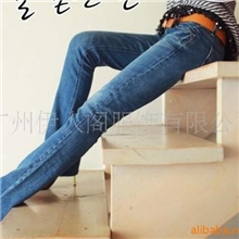 1035新款韩版中高档压皱微喇叭全棉修身女式牛仔裤批发