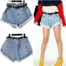 537韩国stylenanda同款热裤欧美复古高腰牛仔短裤卷边宽松大码女