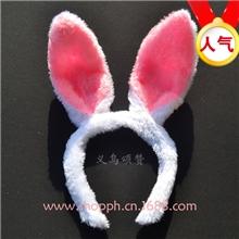 供应毛绒兔耳朵17cm蝴蝶结米奇米尼发箍韩版发饰头饰cos兔子