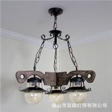 [富麟灯饰]灯具田园实木吊灯餐厅吊灯吊灯简约三头CD9318-3