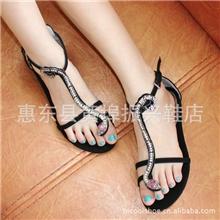 一件代发/批发潮外贸F21蛇链串珠水钻性感罗马鞋凉鞋平底女鞋