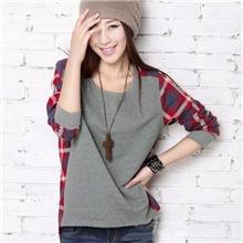 2013秋装新款韩版女装圆领格子拼接街头宽松长袖T恤
