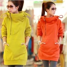 2013韩版新款女装秋冬加厚纯色中长款套头卫衣修身连帽外套
