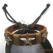 西藏云南民族饰品复古饰品东巴缘合金牛皮手链BL-020