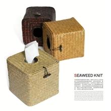 zakka日式家居杂货草编纸巾盒手工编织纸巾盒外贸家居日用品