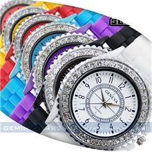 ebay热销爆款GENEVA时尚硅胶手表镶钻石英表日内瓦手表批发