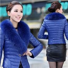 冬装新款韩版气质女装修身大毛领短款皮质棉衣女式羽绒棉服棉袄