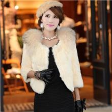 冬装新款韩版气质女装貉子毛领兔毛七分袖海宁短款皮草