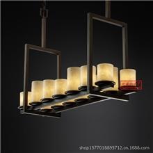 云石餐厅吊灯欧式古典吊灯铁艺灯长方形吊灯可定做尺寸80071/7+7
