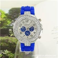 【外贸爆款】硅胶手表/镶钻时尚手表/小额现货批发Geneva手表