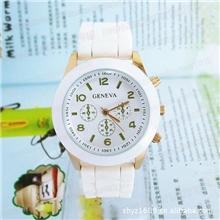 GENEVA三眼时尚手表硅胶手表电子手表敦煌ebay热销手表批发