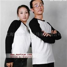 长袖空白T恤批发,情侣装,黑白插肩款情侣长袖T恤