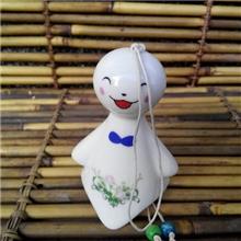 日式陶瓷招财猫风铃汽车挂饰品门饰晴天娃娃100大号