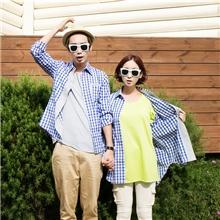 斯托克夫妇情侣装秋新款韩版宽松大码蓝色格子口袋情侣长袖衬衫