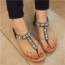 2013新款串珠水钻平底凉鞋女平跟夹趾平底女鞋2987-2058