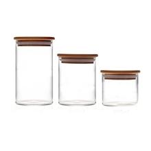 耐热玻璃储物罐玻璃罐储物罐环保密封罐创意竹木盖花茶泡菜罐