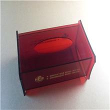 亚克力纸巾盒红色方形纸巾盒抽取式纸巾盒酒店纸巾盒加工定做