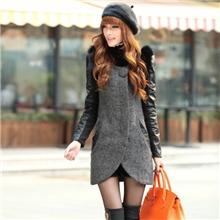 秋冬新款韩版气质女装修身圆领皮质袖中长款毛呢女式外套大衣