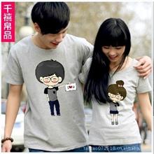 厂家直销2013新款T恤小希和阿树棉T恤情侣装情侣衫韩版班服