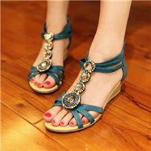 一件代发2013淘宝爆款小坡跟串珠波西米亚风情民族凉鞋批发