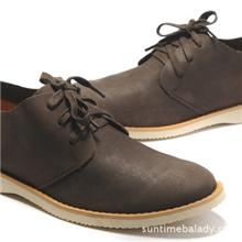 新款软面皮头层疯马皮日常休闲鞋鞋系带圆头男士皮鞋休闲鞋
