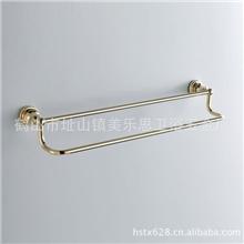 厂家真销、高档全铜、卫浴挂件、金色、双杆毛巾杆