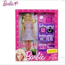 正品美泰芭比娃娃礼盒套装玩具芭比女孩之造型设计师X3495礼物