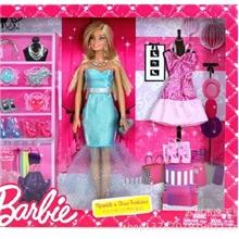 正品特价美泰正版娃娃礼盒套装芭比女孩之闪亮时装组玩具X3496