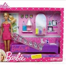 专柜正品美泰正版娃娃礼盒套装芭比女孩之甜美卧室玩具X3228