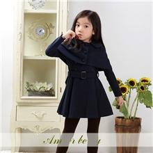 Amberberry3265童装秋冬新款韩国品牌女童气质披肩童外套