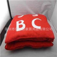 厂家定制高档植绒绣花抱枕被促销抱枕被抱枕批发定做加工