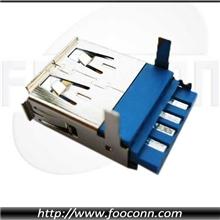 外壳插板式USB3.0AF(母)焊线插头