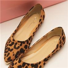 实拍韩版风格复古豹纹尖头鞋平底舒适简约单鞋舒适时尚鞋