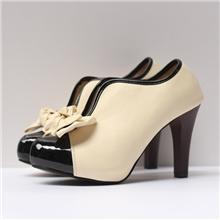 欧美外贸鞋厂可爱蝴蝶结拼色V口及裸靴高跟鞋单鞋大量现货实拍