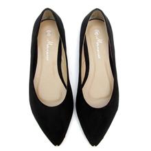 N9爆款2013纯黑色绒面金属头平底鞋尖头浅口平跟鞋单鞋子有40码