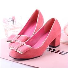 实拍韩国订单可爱金边香香公主蝴蝶结中跟单鞋女鞋子批发