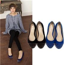 2013新款欧美复古时尚绒面铆钉圆头浅口平跟鞋单鞋平底鞋防狼鞋