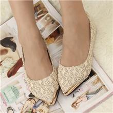 实拍韩版日系可爱淑女蕾丝金属尖头浅口平跟鞋平底鞋单鞋女鞋子