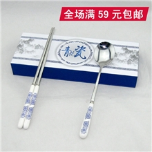 小礼物青花瓷筷子二件套装餐具出国礼品中国特色实用送老外