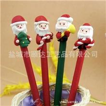 厂家直销圣诞节环保软陶圆珠笔圣诞老人软陶笔圣诞节广告笔